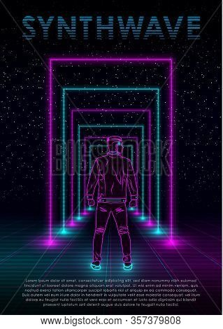 Retrowave Synthwave Vaporwave Illustration With Neon Man, Perspective Laser Grid And Neon Rectangula