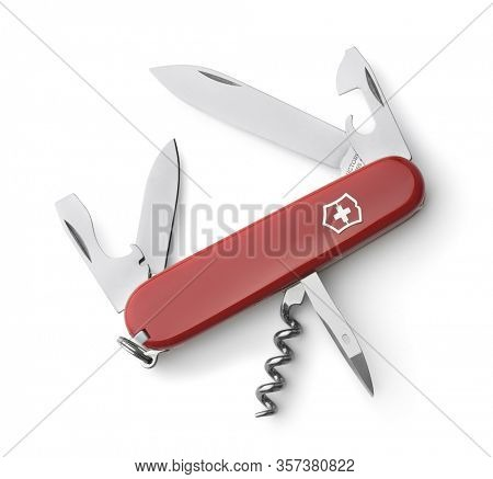 Samara, Russia - March 2020. Victorinox Spartan Swiss Army folding knife isolated on white