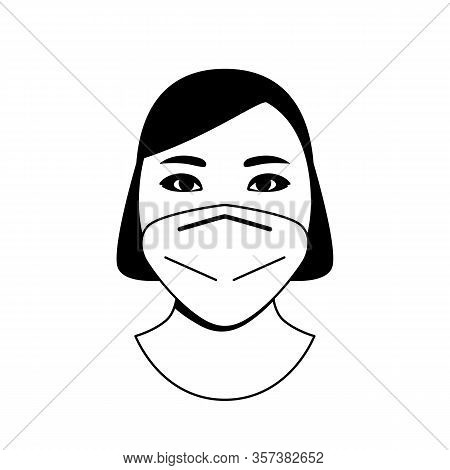 Female Paramedic Doctor In Protective Medical Mask Against Chinese Coronavirus Flu.
