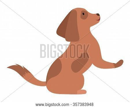 Dog Breed Spotted In Brown Color Sitting With Rising Paw And Tail. Adorable Domestic Cartoon Charact