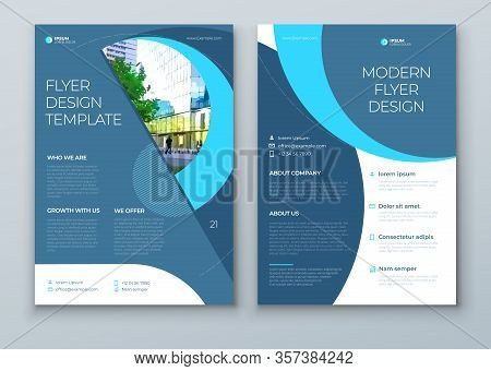 Flyer With Minimal Cyan Blue Geometric Design. Modern Abstract Background For Brochure, Placard, Pos