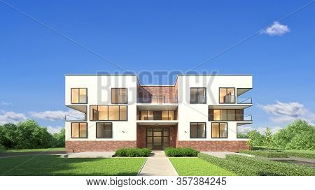 Empty new apartment building as a city villa residential building against a blue sky (3D Rendering)
