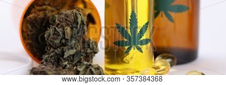 Close-up Of Bottles With Cannabinois Oils Used For Cosmetology And Complex Therapy. Hemp Essential G