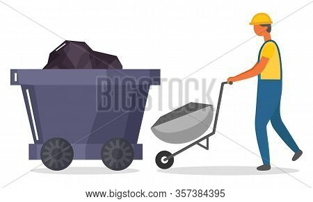 Miner Loading Wagon With Coal Or Minerals. Mining Industry Character And Work Tasks. Transportation