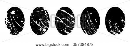 Easter Eggs Black, White With Abstract Splash Ornament For Your Design. Liquid Spatter On Oval Silho
