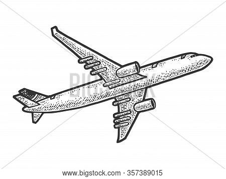 Take Off Flying Plane Sketch Engraving Vector Illustration. T-shirt Apparel Print Design. Scratch Bo
