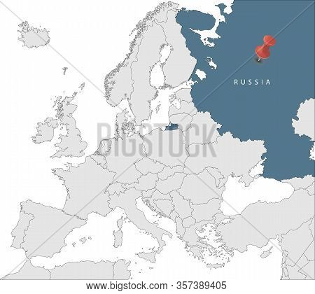 Map Of European Union With The Identication Of Russia. Map Of Russia. Political Map Of Europe In Gra