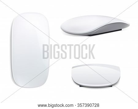 New Set Of Realistic Computer Mouse, 3 Sides Isolated On White Background. Laptop Trackpad, Click An