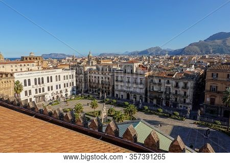 Palermo, Sicily - February 8, 2020: The Town Square Below Palermo Cathedral With Liceo Classico Vitt