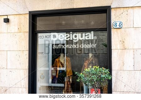 Cefalu, Sicily - February 11, 2020: The Storefront Of The Desigual Shop Which Sells Fashionable Clot