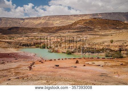 Green Lake In Mitzpe Ramon Crater In Israeli Negev Desert