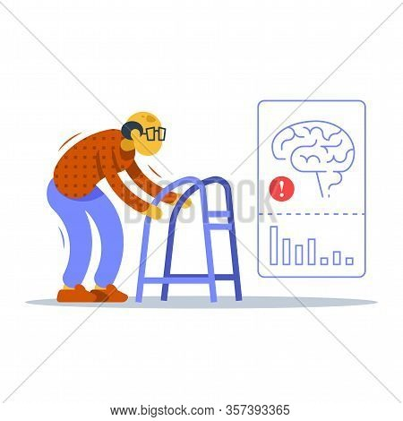 Old Man Walking With Zimmer Frame, Shaking Hands And Body, Unsteady Moving, Alzheimer Disease Therap