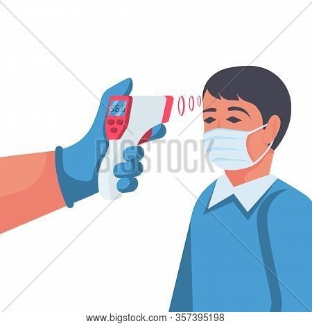 Temperature Check. Doctor Holding A Non-contact Thermometer In Hand. Mask On The Face. Coronavirus P