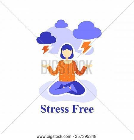 Woman Meditating Practice, Stress Free, Emotion Control, Suppress Bad Feelings, Mental Health, Posit