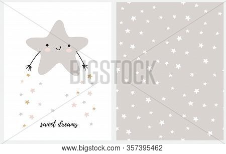 Sweet Dreams. Cute Nursery Art With Gray Smiling Little Star Isolated On A White Background. Kawaii