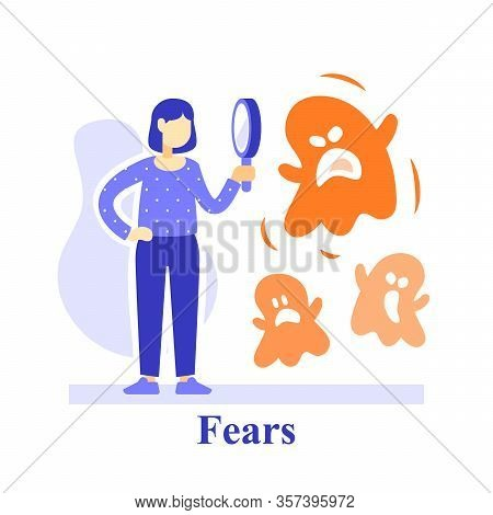 Human Subconscious Fears, Woman And Magnifying Glass, Understand Feelings, Phobia Concept, Negative