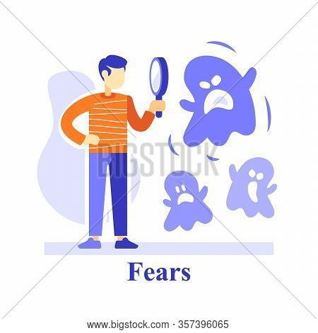 Human Subconscious Fears, Man And Magnifying Glass, Understand Feelings, Phobia Concept, Negative Th