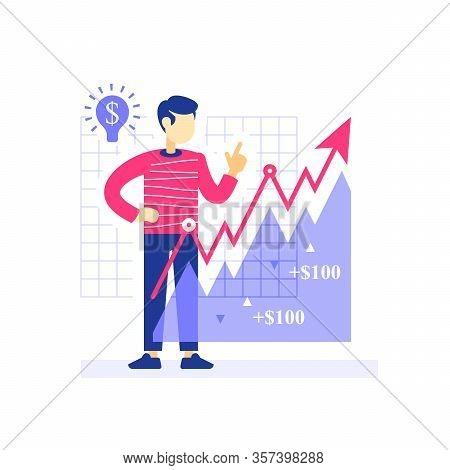 Successful Investor, Growth Arrow, Investment Strategy, Stock Market Portfolio, Revenue Increase, Ea