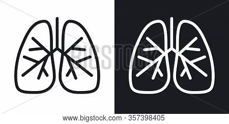 Human Lungs Icon. Simple Two-tone Vector Illustration On Black And White Background