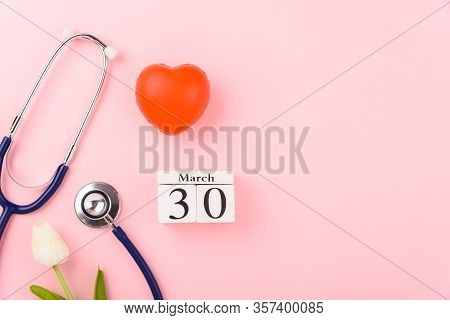 Doctor's Day Concept, Flat Lay Top View, Equipment Medical Red Heart And Stethoscope