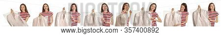 Collage Of Woman Holding Hanger With Clothes On White Background. Dry-cleaning Service