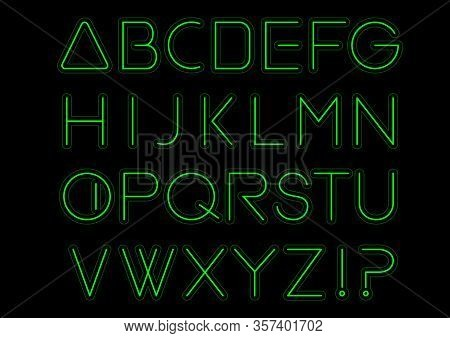 Green Light Alphabet Font. Neon Letters. Bright Typeset Sign. Typography Text For Decoration And Adv