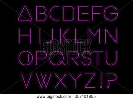 Purple Light Alphabet Font. Neon Letters. Bright Typeset Sign. Typography Text For Decoration And Ad