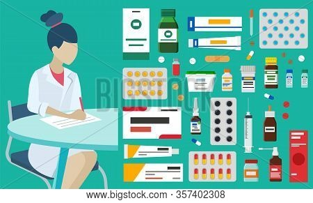 Doctor Prescription And Pills, Female Medical Worker And Medicines Vector. Pharmacy And Medicine, Ph