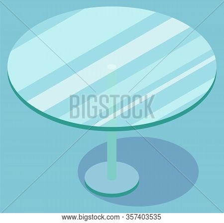 Round Glass Transparent Coffee Table With Patch Of Reflected Light On Surface. Crystalline Furniture