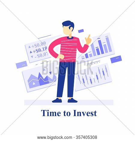 Time To Invest Concept, Successful Investment Strategy, Stock Market Assessment,  Learn Trading, Edu