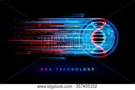 Dna Technology, Genome Research And Genetic Biotechnology Vector Blue Red Neon Light Background. Hum