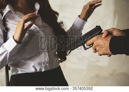 Robber Force Beauty Woman To Steal Wallet Or Handbag By Hand Gun. Man Gunpoint To Victim. Fear Of Wo