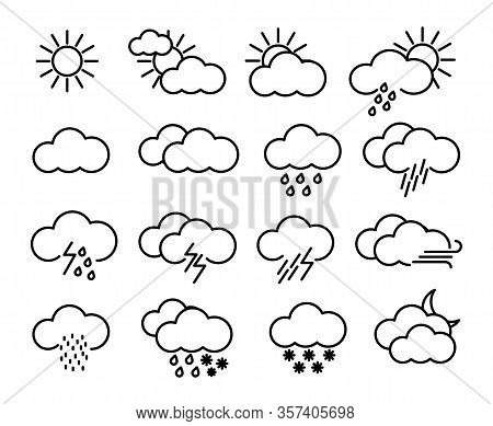 Weather Icons Set, Weather Forecast, Climatic Symbols