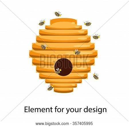 House For The Bees. Bee Hive. Vector Illustration Isolated On A White Background..
