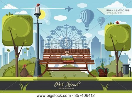Books And A Cup Of Coffee On A Park Bench. Wooden Bench In The City Amusement Park. Ferris Wheel In