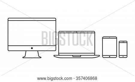 Device Icons Thin Line. Electronic Devices. Computer, Laptop, Tablet And Smartphone.