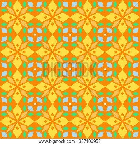 Kaleidoscope, Seamless Pattern, Geometric, Orange, Vector. Geometric Pattern. Multicolored, Flat Vec