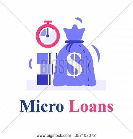 Fast Cash And Stopwatch, Small Loans, Borrow Money, Pay Back Later, Postpone Payment, Return Financi