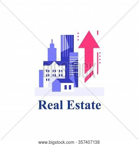 Real Estate Investment And Development, City Growth, Rental Apartment, Property Market Growth, Vecto
