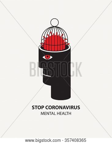 Vector Decorative Illustration With A Human Head And A Locked Covid-19 Virion In A Cage Instead Of A