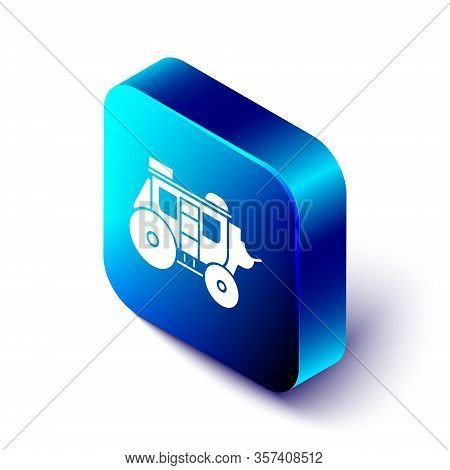 Isometric Western Stagecoach Icon Isolated On White Background. Blue Square Button. Vector Illustrat