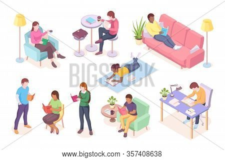 Set Of Cartoon Adult People Read Books While Lying At Sofa Or Sitting. Man Working At Table And Woma