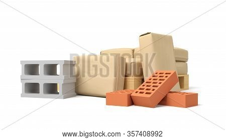 3d Rendering Of Pile Of Light Brown Paper Parcels With Several Cinderblocks And Red Perforated Brick