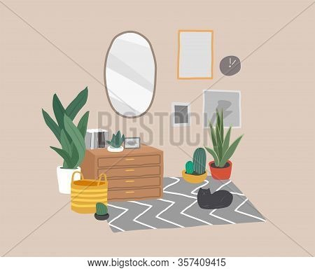 Scandinavian Or Scandinavian Style Interior With A Mirror And A Cosmetic Table. Cozy Interior With H