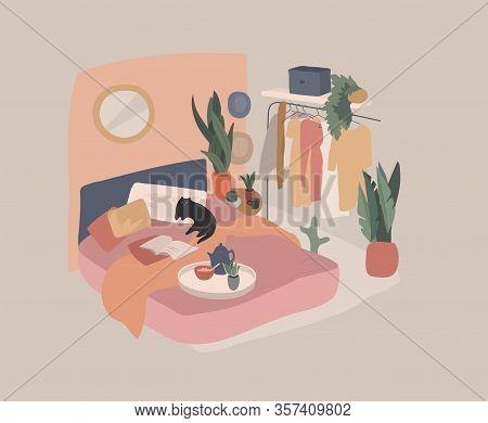 Scandinavian Style Cozy Interior Bedroom With Homeplants. Cartoon Vector Illustration. Soft Terracot