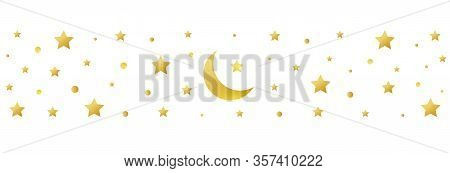 Golden Crescent And Star Symbol On White Background. Ramadan Kareem Long Greeting Banner. Eid Mubara