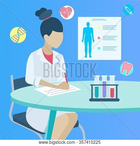 Female Doctor Sitting By Table And Making Notes Or Medical Prescription On Paper. Practitioner In Wh