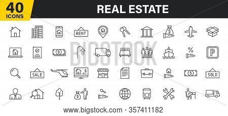 Set Of 40 Real Estate Web Icons In Line Style. Rent, Building, Agent, House, Auction, Realtor. Vecto