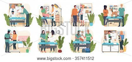 Veterinary Flat Set With Pet Carriage Vet Clinic And Doctor Isolated, Vector. Medical Personnel With
