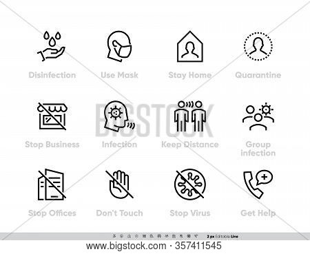 Coronavirus Protection Measures Icon Set. Vector Pack For Infographic Or Website Contains Such Icons